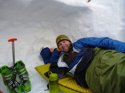 Shawn enjoying the snow cave.